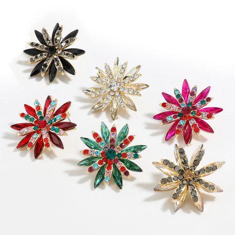 Boucle d'oreille de fleur de strass de diamant d'all-match de série de diamant de couleur de mode NHJE248102's discount tags
