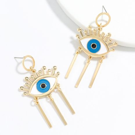 Exaggerated style creative alloy drip oil eye tassel retro earrings wholesale NHJE248104's discount tags