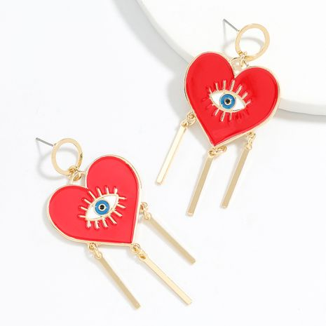 Exaggerated style love heart-shaped alloy dripping eyes fringed trendy  earrings wholesale NHJE248105's discount tags