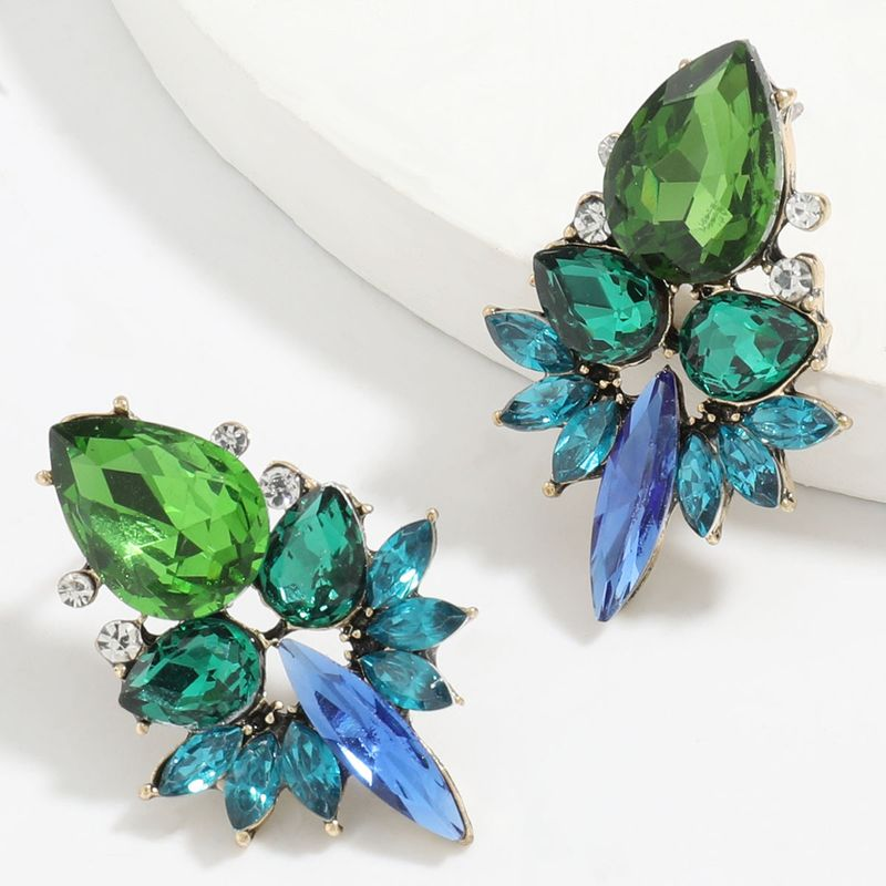 Fashion color diamond series alloy diamond rhinestone glass diamond full diamond earrings wholesale NHJE248106