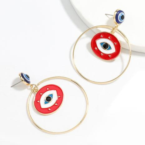 Exaggerated style ring alloy oil drip eye retro earrings wholesale NHJE248107's discount tags