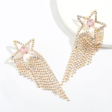Super flash claw chain series five-pointed star alloy diamond rhinestone tassel earrings wholesale NHJE248108's discount tags
