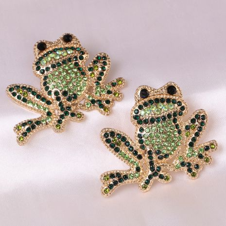 wholesale inlaid green diamonds cute frog rose gold small animal earrings for women  NHJJ248109's discount tags