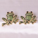 wholesale inlaid green diamonds cute frog rose gold small animal earrings for women  NHJJ248109