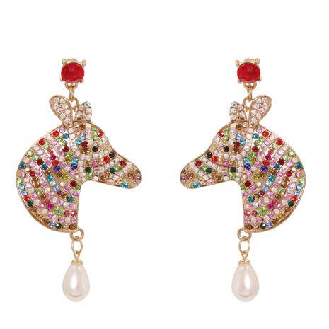 Mode rayures exagérées couleur diamant boucles d'oreilles en alliage de perles de mode goutte d'eau pour les femmes NHJJ248110's discount tags