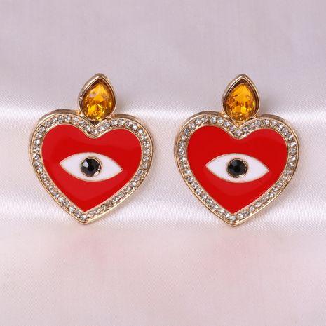 Pendientes de mujer exagerados con tendencia de ojo de demonio geométrico de aleación en forma de corazón NHJJ248111's discount tags