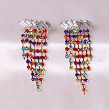 Pendientes largos de aleación con tachuelas de diamantes geométricos con cuello de borla tachonado de diamantes de todo fósforo NHJJ248114's discount tags