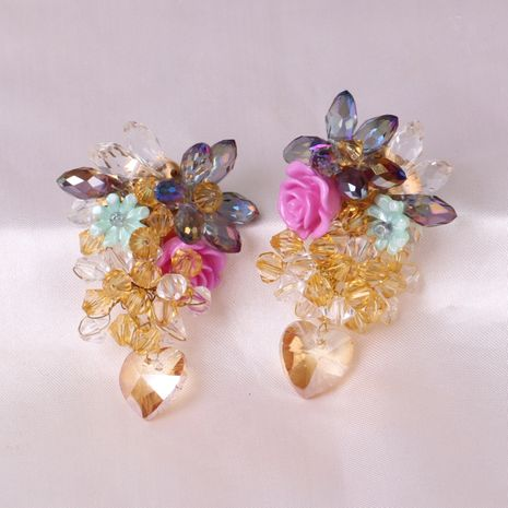 Boucles d'oreilles de mode pour femmes en cristal de verre tricoté avec pompon fleur exagérée NHJJ248116's discount tags
