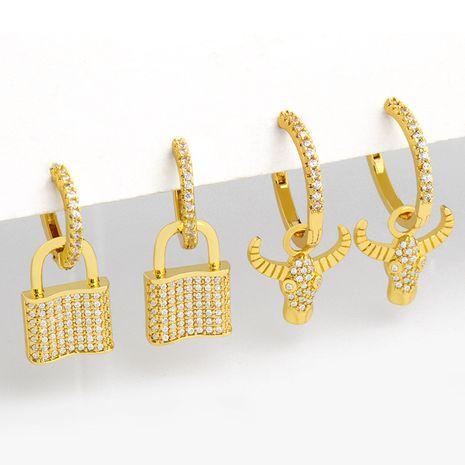 nouvelles boucles d'oreilles en cuivre à tête de taureau cloutées de diamants de niche coréenne pour femmes NHAS248121's discount tags