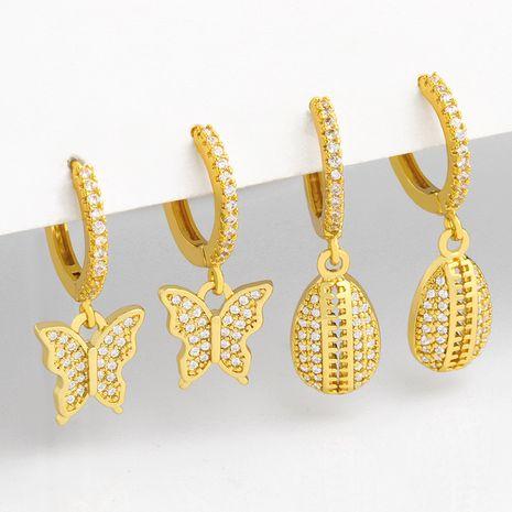 Moda nuevos pendientes simples de cobre con diamantes de concha de mariposa para mujeres NHAS248125's discount tags