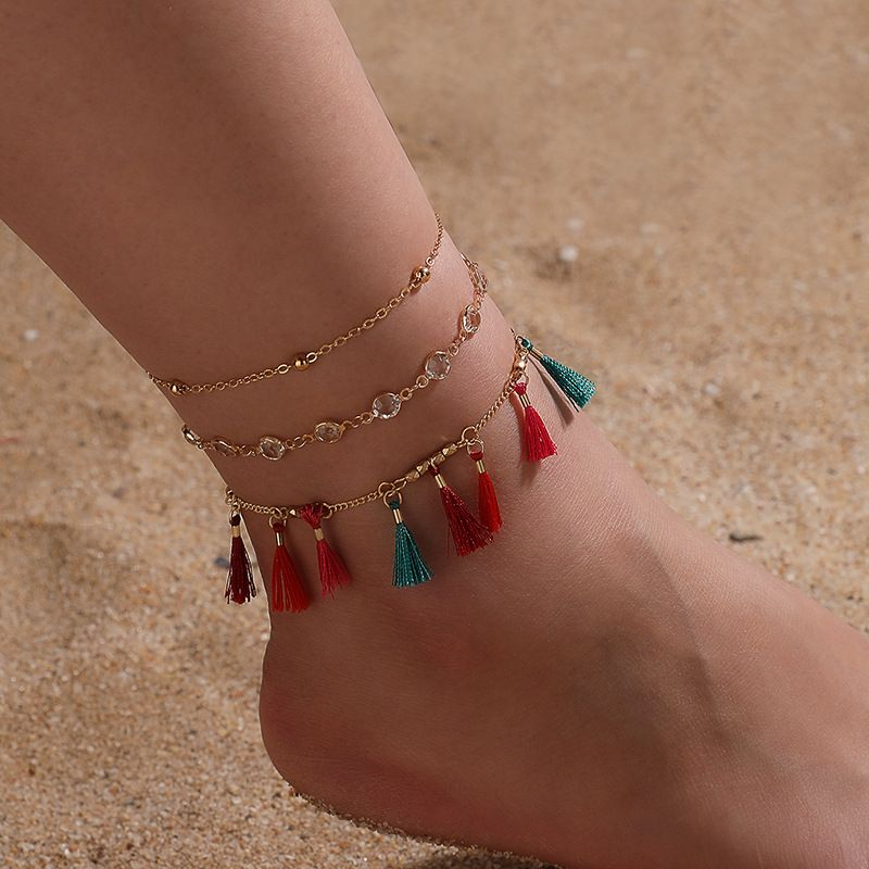 new ethnic style alloy transparent rhinestone color tassel handmade anklet three-piece combination NHGY248126