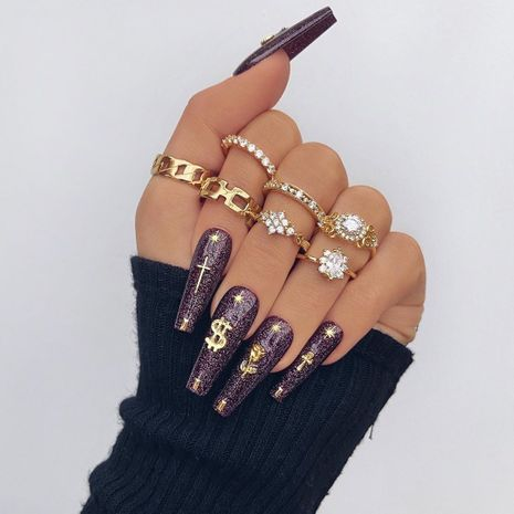 new fashion diamond-studded water drop flower twist alloy ring  7-piece set wholesale NHGY248128's discount tags