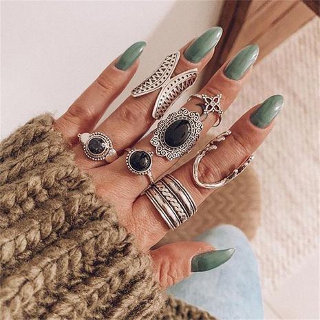 new trend black gemstone butterfly antler flower ring 6 set wholesale NHGY248130's discount tags