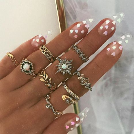 new simple awn star snake-shaped leaf ring 9 piece set diamond ring wholesale NHGY248131's discount tags