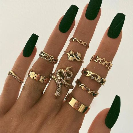 bohemian creative hollow retro star rose flower snake ring 11 piece set wholesale NHGY248132's discount tags