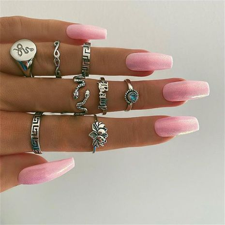 New Retro Popular Lotus Snake Ring 8 Piece Set  wholesale NHGY248133's discount tags