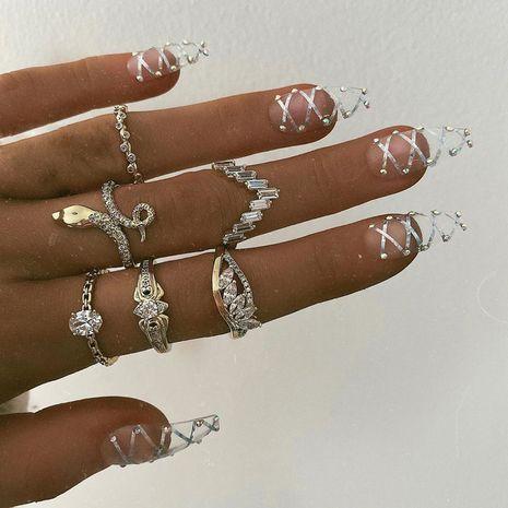 new retro pattern snake-shaped diamond ring 7 piece set diamond ring wholesale NHGY248134's discount tags