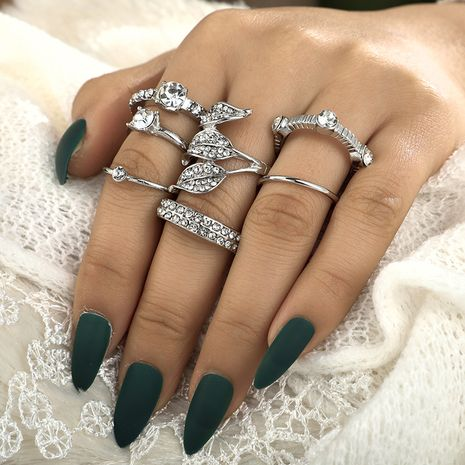 fashion simple diamond leaf ring 7-piece set combination tail ring wholesale NHGY248137's discount tags