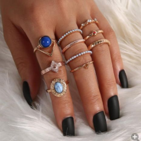 Creative dripping oil retro bohemian geometric ring turquoise diamond 10 piece set ring NHGY248139's discount tags