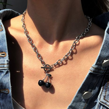 fashion new simple resin cherry alloy pendant chain hot sale clavicle chain NHMD248145's discount tags