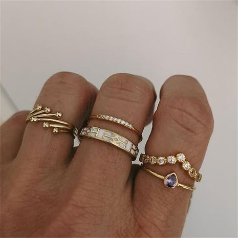 fashion creative irregular geometric zircon tree branch 5-piece geometric set ring wholesale NHGY248147's discount tags