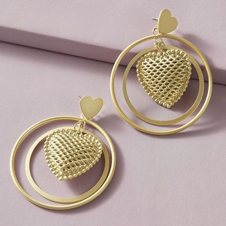 Aleación de aro de doble capa, nuevos pendientes de amor huecos de estilo simple y versátil al por mayor NHGY248148's discount tags
