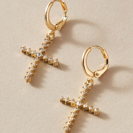 new alloy cross diamond fashion all-match exquisite earrings wholesale NHGY248157's discount tags