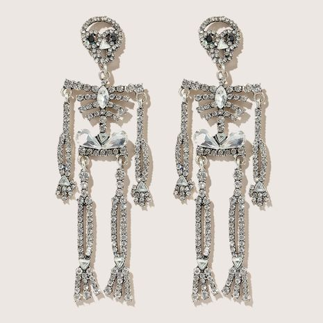 Halloween skull full of diamond exaggerated trend alloy earrings wholesale NHGY248158's discount tags