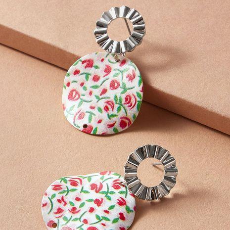 Mode grüne Blattblumenlegierung Retro-Stil falten runde Ohrringe Großhandel NHGY248159's discount tags
