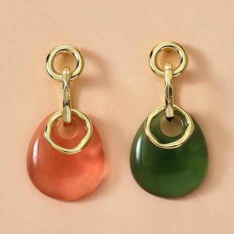 nouvelles boucles d'oreilles simples et à la mode en résine translucide rouge et verte en forme de goutte en gros NHGY248166's discount tags