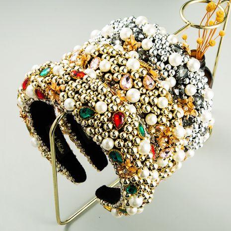 New retro dinner fashion baroque gemstone beaded boutique women's flowers wild headband NHLN248175's discount tags