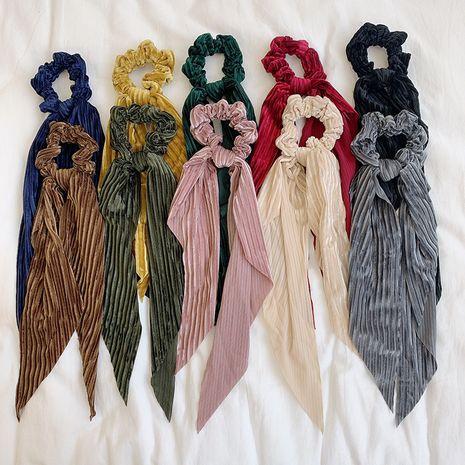 Tissu de couleur unie simple noeud papillon cravate rétro queue de cheval chouchous en gros NHOF248176's discount tags