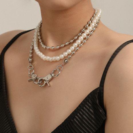collar de aleación de hebilla doble de perlas multicapa simple de moda para mujeres NHXR248179's discount tags