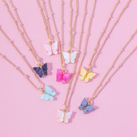 bijoux de mode ailes de papillon en acrylique coloré exquis collier mince court pour les femmes NHLL248213's discount tags