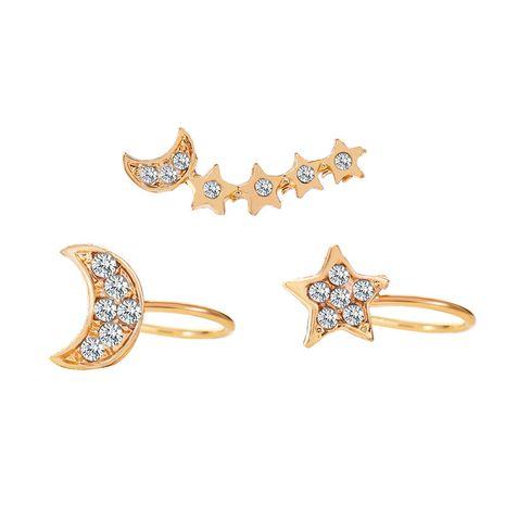 Boucles d'oreilles en alliage tendance 3 pièces pour femmes avec étoiles de diamants et lune NHCU248231's discount tags