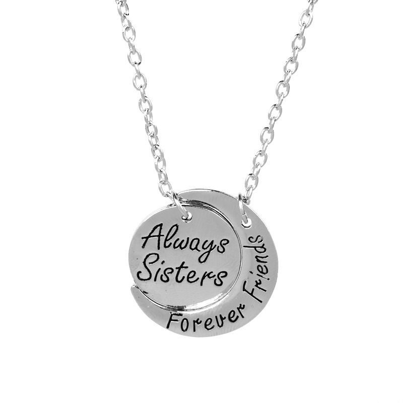 Fashion good sister always sisters forever fiends english letter star moon alloy necklace NHCU248232