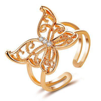 nouvelle bague ouverte de mode papillon creux exagérée en gros NHCU248234's discount tags