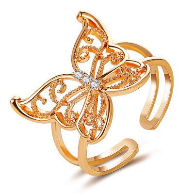 nouvelle bague ouverte de mode papillon creux exagre en gros NHCU248234