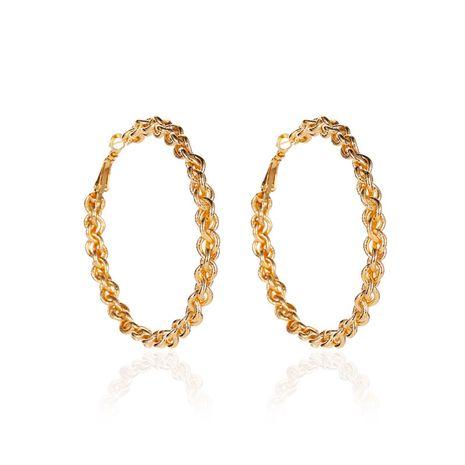 nouveau design tissé créatif alliage boucles d'oreilles exagérées grand cercle torsion en gros NHCU248238's discount tags