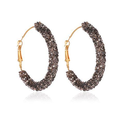 nouvelles boucles d'oreilles en demi-cercle simples en forme de C en cristal exagéré rétro boucles d'oreilles en gros NHCU248246's discount tags