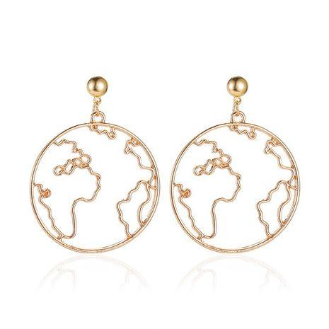 nouvelle carte exagérée conception créative carte du monde simples boucles d'oreilles rondes creuses en gros NHCU248261's discount tags