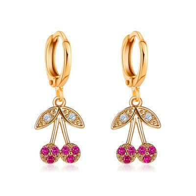 new cherry diamond-studded fruit cute girl earrings wholesale NHCU248262's discount tags