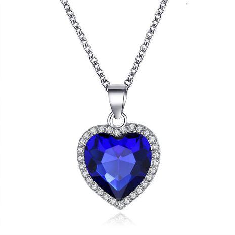 neue klassische Ozean Herz Titanic Kristall Edelstein Liebesform Halskette Schlüsselbein Kette NHCU248265's discount tags