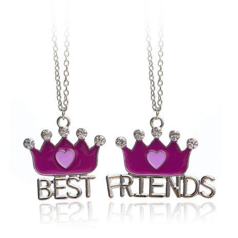 Mode neue Best Friends Krone Liebesförmige lila Diamant Halskette Accessoires NHCU248266's discount tags