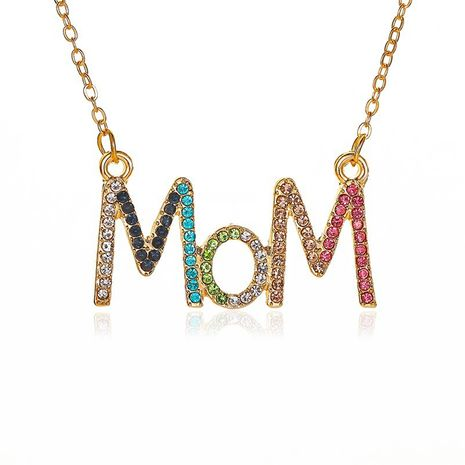 new simple color diamond mother's day gift diamond MOM letter alloy necklace clavicle chain jewelry NHCU248275's discount tags