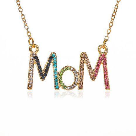 neue einfache Farbe Diamant Muttertag Geschenk Diamant MOM Brief Legierung Halskette Schlüsselbein Kette Schmuck NHCU248275's discount tags