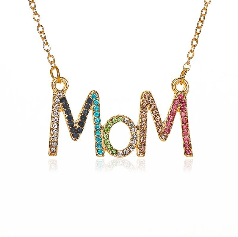 new simple color diamond mothers day gift diamond MOM letter alloy necklace clavicle chain jewelry NHCU248275
