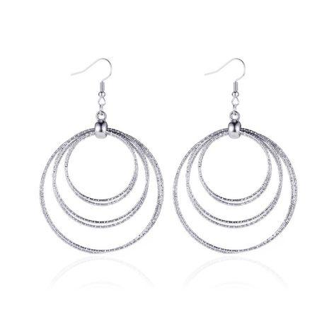 nouvelles boucles d'oreilles géométriques à trois couches de conception minimaliste de diamant multicouche simple exagérée en gros NHCU248278's discount tags