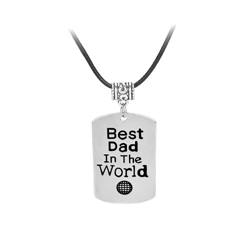 Fashion oil drop letter tag Best Dad In The World retro mens necklace NHCU248294