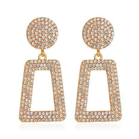 nouveau long diamant clignotant géométrique exagéré incrusté de diamants carrés boucles d'oreilles creuses en gros NHCU248296's discount tags